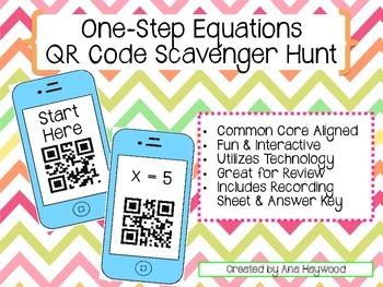 One Step Equations QR Code Scavenger Hunt