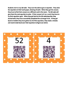 One Step Equations QR Code Scavenger Hunt (with negatives!)