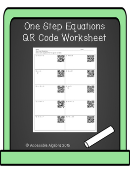 One Step Equations QR Code Worksheet