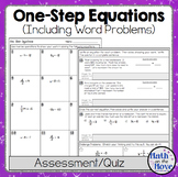 One Step Equations Quiz or Worksheet (Includes Word Problems!)