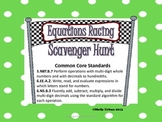 One-Step Equations Racing Scavenger Hunt (Decimals) With C