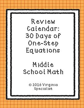 One Step Equations Review Calendar