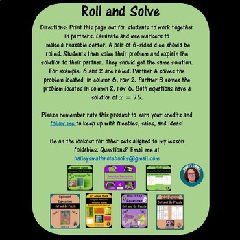 One-Step  Equations  Roll and Solve Math Center