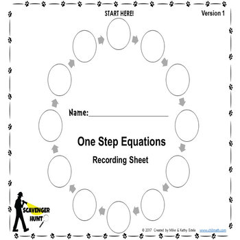 One-Step Equations {Scavenger Hunt}