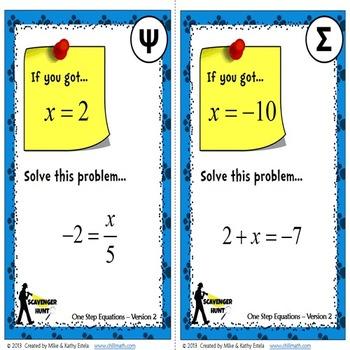 One-Step Equations {Scavenger Hunt}