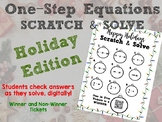 One-Step Equations Scratch and Solve Tickets (W/ Digital R