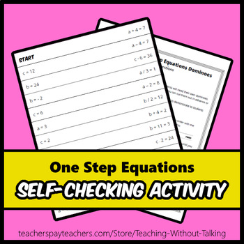 One Step Equations Self-Checking Activity