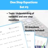 One Step Equations - Set 3