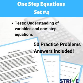 One Step Equations - Set 4