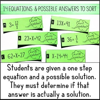 One Step Equations Solution or Not Card Sort