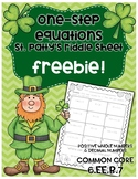 One-Step Equations - St. Patrick's Day Riddle FREEBIE