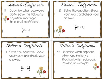 One-Step Equations Stations