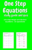 One Step Equations Study Guide and Quiz