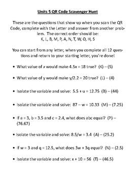 One-Step Equations & Substitution QR Code Scavenger Hunt