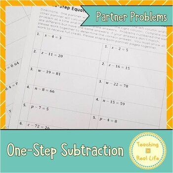 One Step Equations: Subtraction Partner Problems