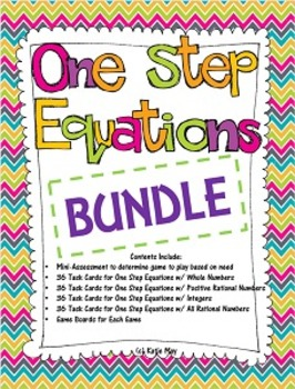One Step Equations Task Card / Game Board Bundle