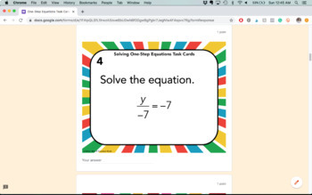 One Step Equations Task Cards Digital Activity