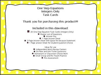 One Step Equations Task Cards, Integers Only