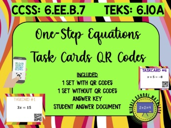 One-Step Equations Task Cards QR Codes