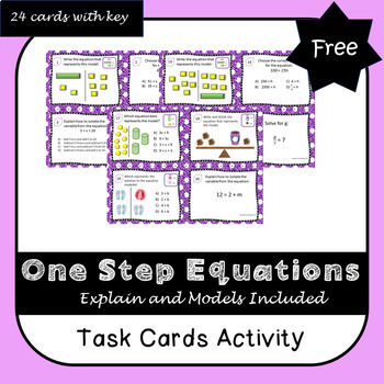 One Step Equations Task Cards including Models