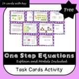 One Step Equations Task Cards including Models