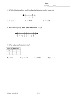 One Step Equations Test and Review