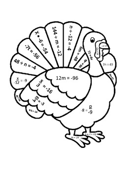 One Step Equations Thanksgiving Turkey