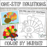 Color by Number Thanksgiving Turkey: Solving One-Step Equations