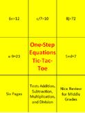 One-Step Equations Tic-Tac-Toe