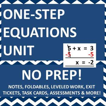 One Step Equations Unit - Notes, Foldables, Worksheets, Assessments & Activities