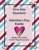 One Step Equations Valentine's Day Riddle