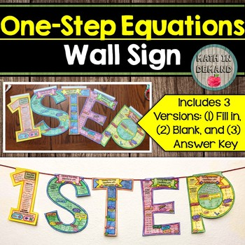 One-Step Equations Wall Sign (Great as Math Banner or Math Bulletin Board)