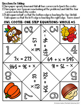 One Step Equations: Whole Numbers - Thanksgiving Cootie Quest