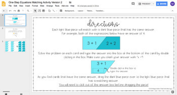 One-Step Equations (With Integers) DIGITAL Matching Activity for Google Drive™