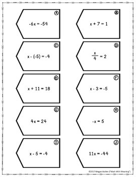 One-Step Equations (With Integers) Matching Activity - CCSS 7.EE.B.3 Aligned