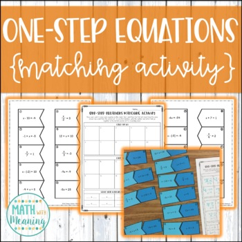 One-Step Equations (With Integers) Matching Activity - CCS