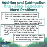 Addition and Subtraction One-Step Equations Word Problems