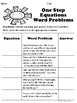 One Step Equations Word Problems