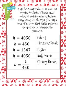 One Step Equations Word Problems Christmas Math Silly Story
