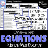 One-Step Equations Word Problems Sixth Grade Math