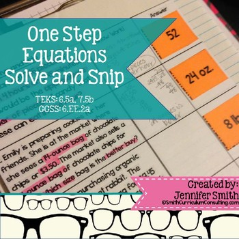 One Step Equations Word Problems Solve and Snip- Common Core & TEKS