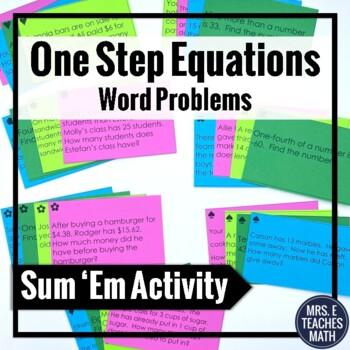 One Step Equations Word Problems Sum Em Activity