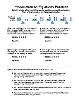 One-Step Equations Worksheet