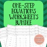 One Step Equations Worksheets Bundle Levels A-D