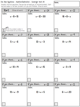 one step equations addition and subtraction scavenger hunt worksheets