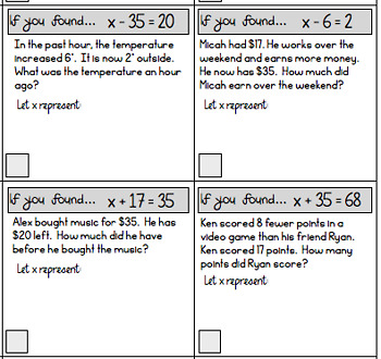 One Step Equations (addition and subtraction) Scavenger Hunt Worksheets