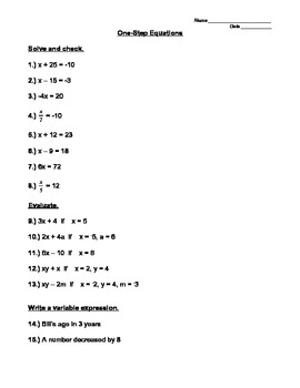 One-Step Equations and Evaluating Expressions Worksheet by Andrea McCann