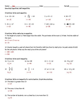 One-Step Equations and Inequalities