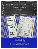 One Step Equations and Inequalities Foldable