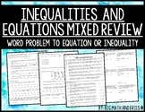One-Step Equations and Inequalities Mixed Practice (6.9A, 6.9B, 6.9C)